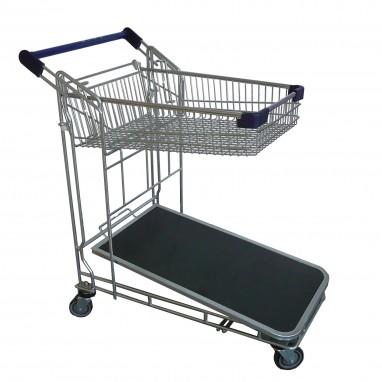 Chariot magasin panier haut + plateau bois
